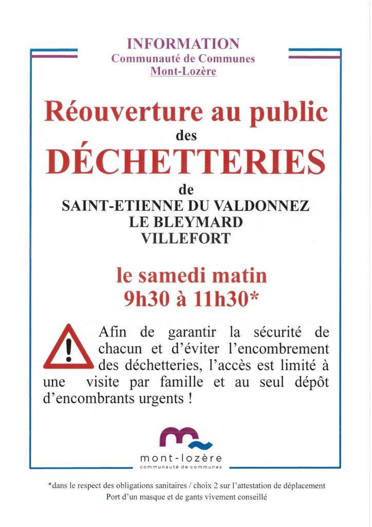 Information communauté de communes Mont-Lozère (déchetterie)