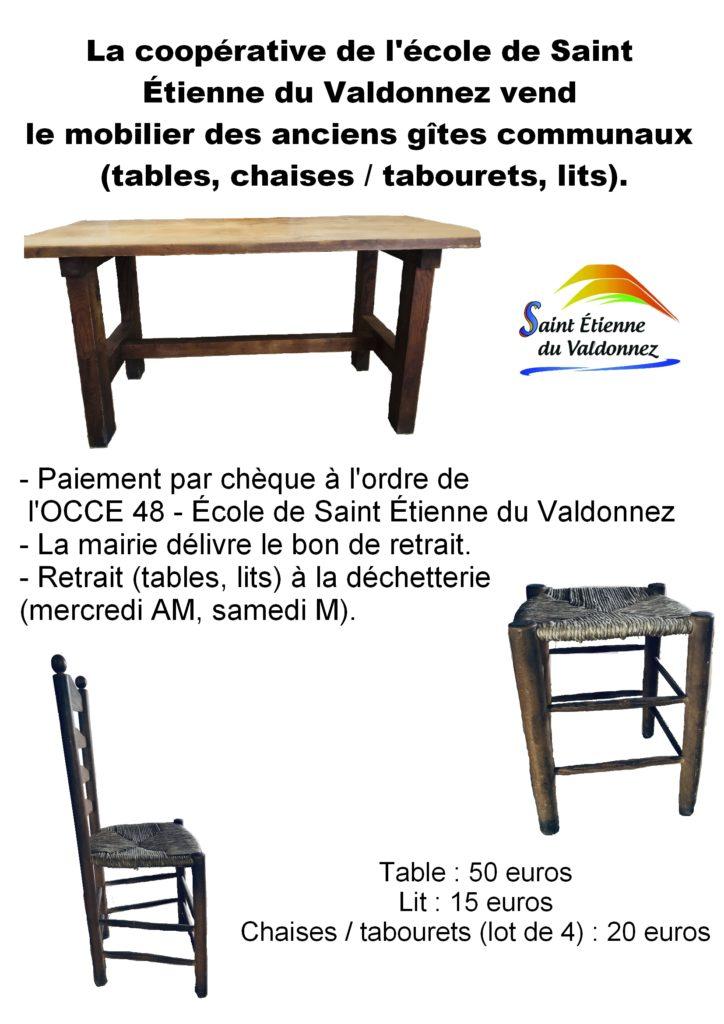 Vente du mobilier des anciens gîtes communaux